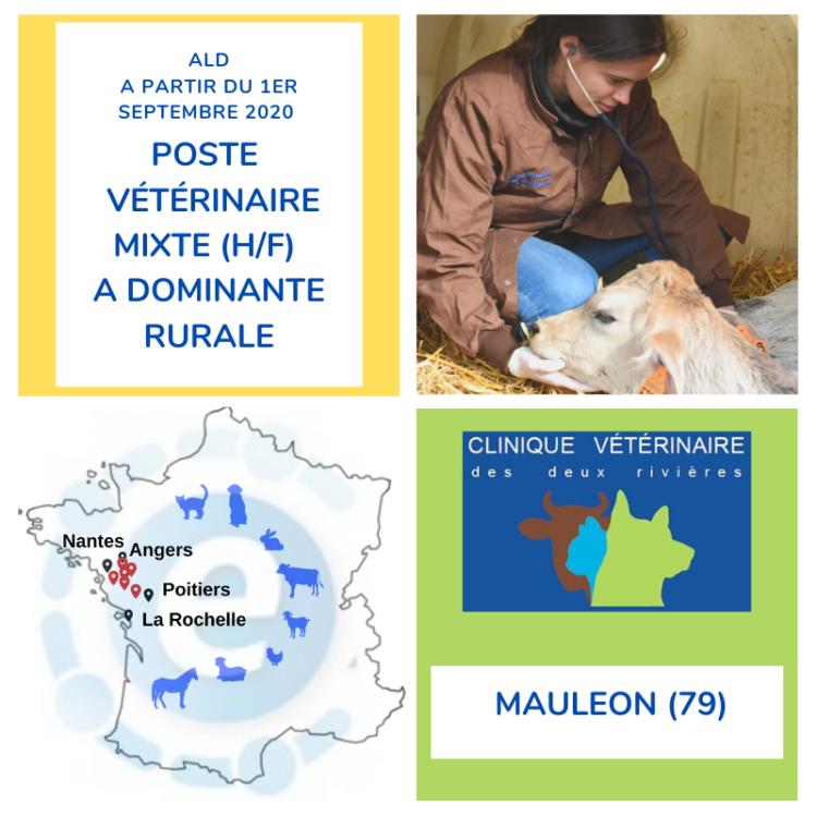 Offre poste vétérinaire mixte à dominante rurale au 1er septembre 2020